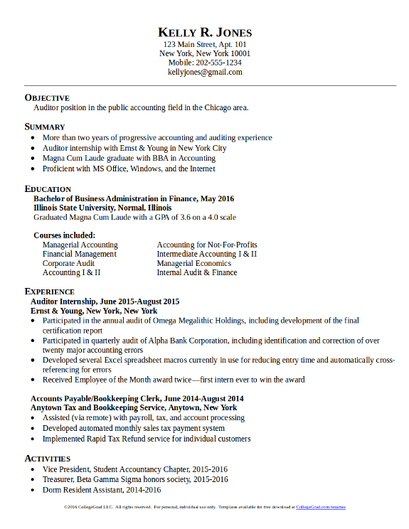 Quickstart Resume Templates CollegeGradcom