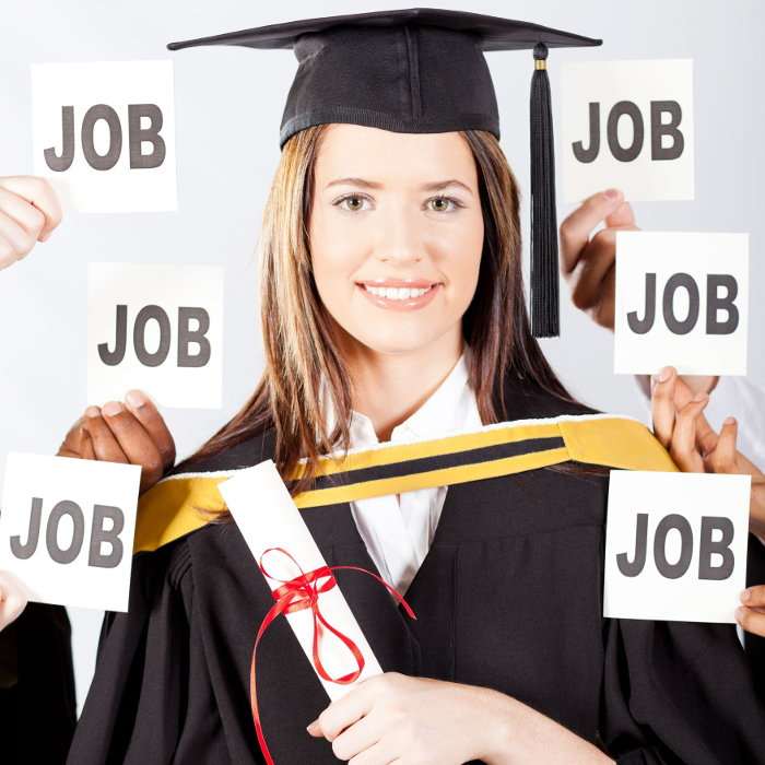 College graudate receiving many job offers.