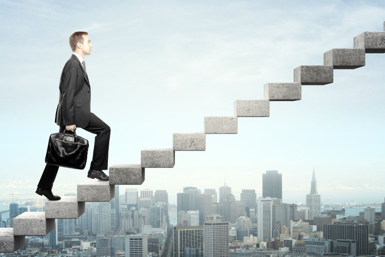 Job seeker climbing ladder to a great career