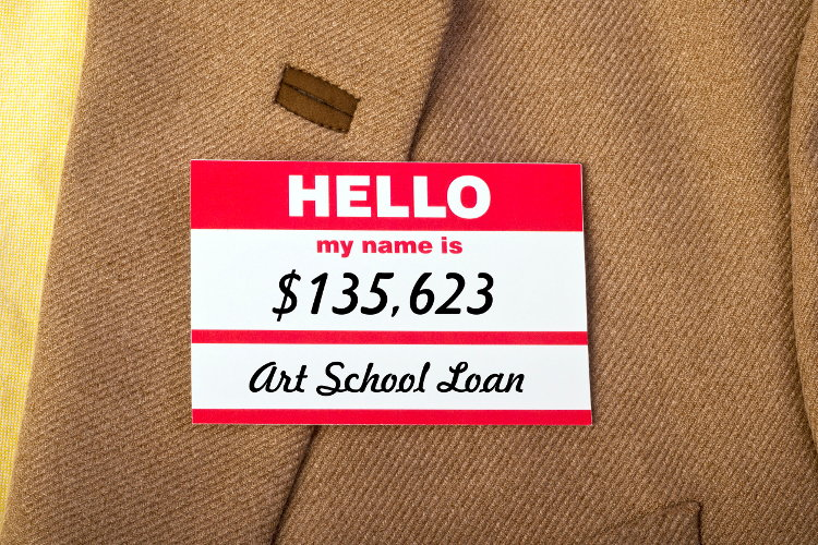 Name tag showing student debt.