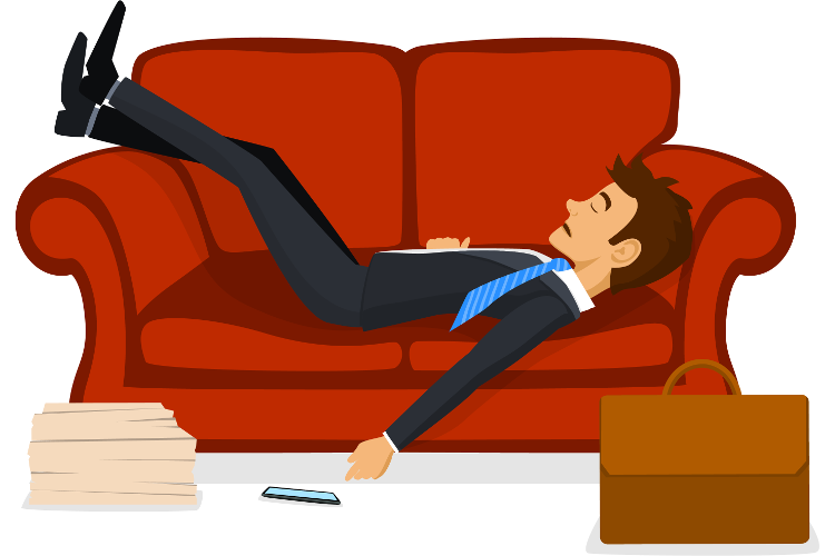 Rejected job seeker lying on couch